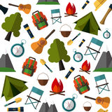 Camping pattern. Tent, map, compass, backpack, Stock Image