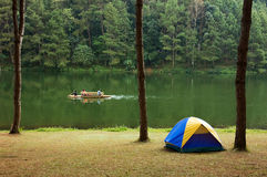 Camping peaceful lake, Maehongson Privince,Thailand Stock Photo