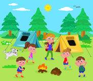 Camping people vector. Camping kids and woman in wood with tents, cartoon vector illustration vector illustration