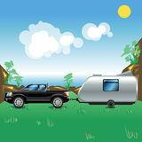 Camping pickup trailer seaside view Royalty Free Stock Image