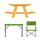 Camping and Picnic Table Royalty Free Stock Photo