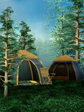 Camping place. In a green forest Royalty Free Stock Image
