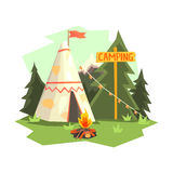 Camping Place With Bonfire, Wigwam And Forest Royalty Free Stock Images
