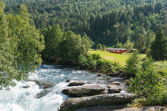 Camping place near the mountain river, Norway Stock Images
