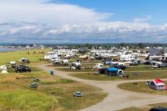 Camping Plage Beaubassin Bonaventure village  Quebec Canada Gasp. Bonaventure, Canada-13 August 2017 : Camping Plage Beaubassin at Bonaventure village of Stock Photos