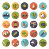 Camping plat de conception et ensemble extérieur d'icône de poursuites Image stock