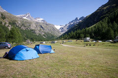 Camping in Pont - Valsavaranche Royalty Free Stock Photos