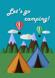 Camping poster. Poster calling for camping and eco tourism Royalty Free Stock Image