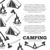 Camping poster with fire, axes, tent Royalty Free Stock Photo