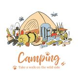 Camping poster template. Take a walk on the wild side. Hiking icons colored sketch style set. vector collection. frame. On top text, copy space. Vector royalty free illustration