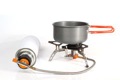 Camping pot on stove Stock Image