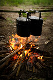 Camping pots. Cooking by using camping pot and bonfire Stock Photo