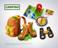 Camping Realistic Composition Stock Photo