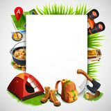 Camping Realistic Frame. With consisting of rectangle and elements of tourist equipment vector illustration Royalty Free Stock Photos