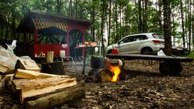 camping Reconstrucción en el lago Bosque 100 almacen de video