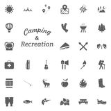 Camping and Recreation letter icon. Camping and outdoor recreation icons set.  Royalty Free Stock Image