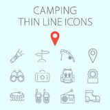 Camping related flat vector icon set royalty free illustration