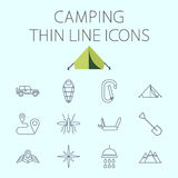 Camping related flat vector icon set Stock Photography