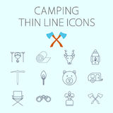 Camping related flat vector icon set Royalty Free Stock Images