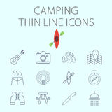 Camping related flat vector icon set stock illustration