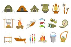 Camping Related Objects Set. Of Simple Design Illustrations In Cute Fun Cartoon Style Isolated On White Background Stock Images