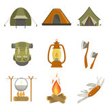 Camping Related Objects Set. Of Simple Design Illustrations In Cute Fun Cartoon Style Isolated On White Background Royalty Free Stock Images