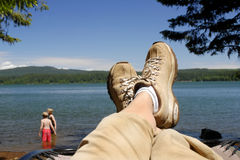 Camping Relaxation Stock Images