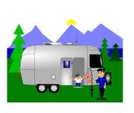 Camping with retro rv Stock Photos