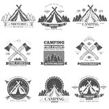 Camping  retro vector logo Royalty Free Stock Image