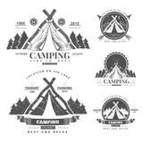 Camping  retro vector logo Royalty Free Stock Photography