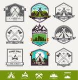 Camping  retro vector logo Stock Photo