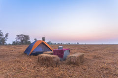 Camping in rice fields Royalty Free Stock Photos