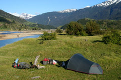 Camping by the river. Beautiful camping spot near the river in Chilean Patagonia Royalty Free Stock Photos