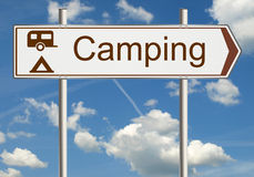 Camping road sign Stock Photo