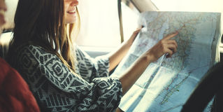 Camping Road trip Couple Direction Map Concept stock photos
