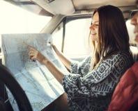 Camping Roadtrip Couple Direction Map Concept Stock Photos
