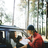 Camping Roadtrip Couple Direction Map Concept Stock Photography