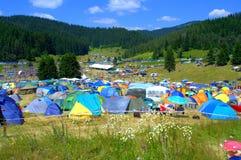 Camping Rozhen favorablemente, Bulgaria Foto de archivo libre de regalías
