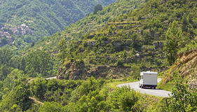 Camping, rv on the move. France. stock photography