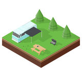 Camping RV outdoor vacation isometric icon set Royalty Free Stock Photos