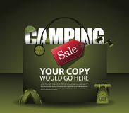 Camping sale shopping bag background EPS 10. Vector Royalty free stock illustration for ad, promotion, poster, flier, blog, article, social media, marketing royalty free illustration