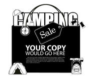 Camping Sale shopping bag background EPS 10 vector. Royalty free stock illustration for greeting card, ad, promotion, poster, flier, blog, article, ad royalty free illustration