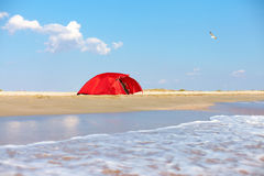 Camping on sandy beach Stock Images