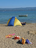 Camping on sandy beach Royalty Free Stock Photos