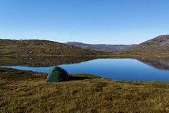 Camping in Sarek. A view over a lake next to the padjelanta trail. A perfect spot to camp Royalty Free Stock Image