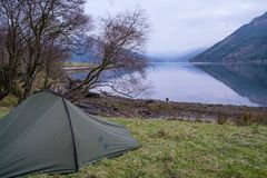 Camping sauvage sur le loch Goil image stock
