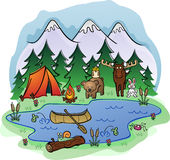Camping Scene with Animals. A camping scene with lots of animals, fish and birds in the forest near the mountains Royalty Free Stock Images