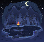 Camping Scene at Night with Animals. A night camping scene with lots of animals, fish and birds in the forest near the mountains Royalty Free Stock Photography