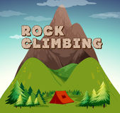 Camping scene with word rock climbing Stock Photo