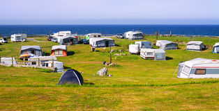 Camping at sea coast. In sunny day royalty free stock photography